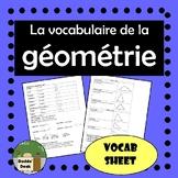 Géométrie (Geometry) Vocab sheet - 2D shapes and angles