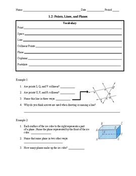 Geometry 1.2 Guided Notes: Points, Lines, and Planes