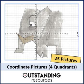 Geometry: 22 Unique Co-ordinate Pictures (FOUR Quadrant) - Fun Starters!