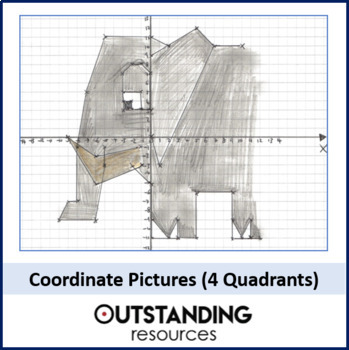 Geometry: 22 x Coordinate Graphing Pictures (FOUR Quadrant) - Fun Starters!