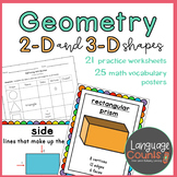 Geometry 1st Grade Worksheets and Vocabulary Posters- enVi