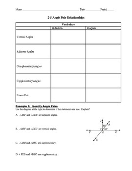 Geometry 2.5 Guided Notes: Angle Pair Relations