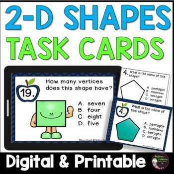 Geometry- 2 D shapes (Polygons) (24 Task cards)