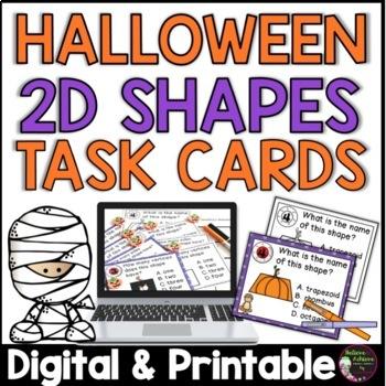 2 D shapes Task Cards (Halloween theme)