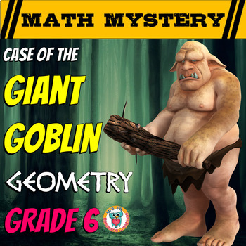 6th Grade Geometry Review Math Mystery: Area, Prisms, Volume & more