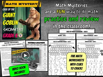 6th Grade Geometry Review Distance Learning Math Mystery: Area, Volume +