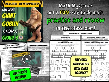 3rd Grade Geometry Review Math Mystery 2D & 3D Shapes, Perimeter + Area