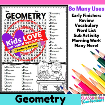 Geometry Activity: Geometry Vocabulary: Geometry Word Search