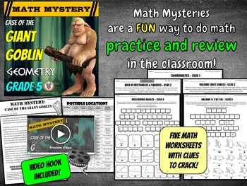 5th Grade Geometry Review Math Mystery {Coordinates, Area, Volume, Angles}