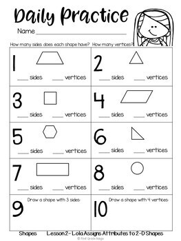 Geometry (2D & 3D Shapes) Guided Math Unit & Daily Printables with Lola