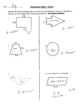 Geometry: 2D Area Quiz