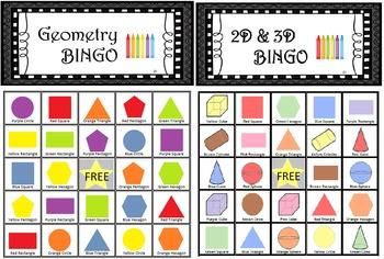 Geometry 2D Bingo and Geometry 2D & 3D Bingo!