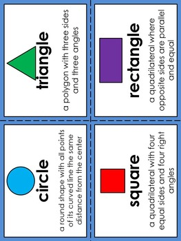 Geometry 2D Shapes Vocabulary Pocket Activity with Word Wall Cards