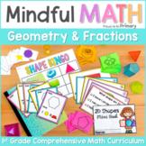 Grade 1 Math: Geometry 2D Shapes, 3D Solids & Fractions Unit | First Grade Math