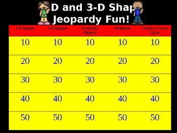 Geometry: 2D and 3D Shapes Jeopardy Game