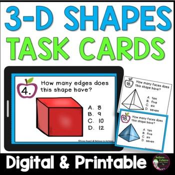 Geometry- 3 D shapes  (24 Task cards)