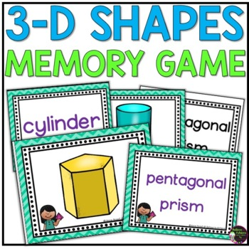Geometry - 3D Shapes Memory Game (color and black and white versions)