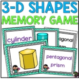 3D Shapes Memory Game (color and black and white versions)