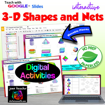 geometry 3d shapes and their nets with google slides by joan kessler