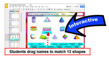 Geometry 3D Shapes and their Nets with GOOGLE Slides™