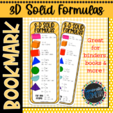 Geometry 3D Solids Bookmark; Resource Tool, Surface Area, Volume