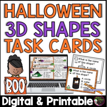 3D shapes Task Cards (Halloween theme)