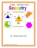 Geometry 3rd Grade:  Compare Shapes,Partitioning Shapes, CCSS