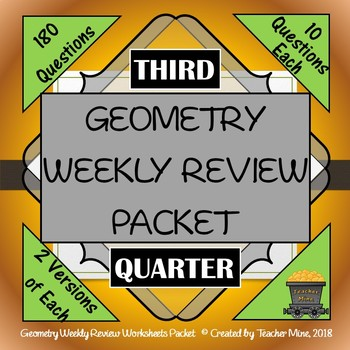 Geometry 3rd Quarter Weekly Review