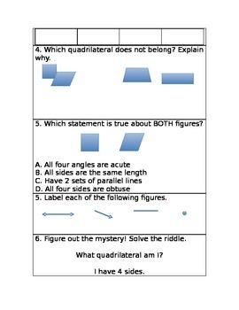 Geometry 3rd grade worksheet