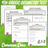 Geometry 4th Grade Assessment - CCSS