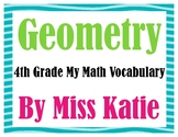 Geometry 4th Grade My Math Vocabulary Posters