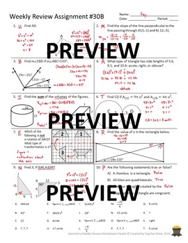 Geometry 4th Quarter Weekly Review