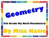 Geometry 5th Grade My Math Vocabulary Posters
