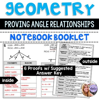 Geometry - 6 Proving Angle Relationships Proofs with Answer Key - Foldable