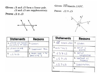 Geometry - 6 Proving Angle Relationships Proofs with ...