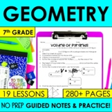 Geometry- 7th Grade Math Notes and Activities Bundle