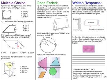 Geometry 7th Grade~ Multiple Choice, Short Response, Extended Response