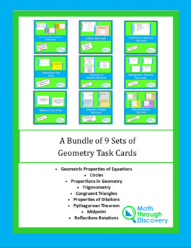 Geometry:  A Bundle of 9 Geometry Task Cards