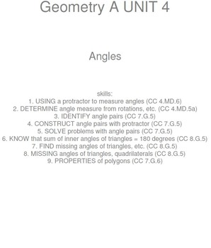 HS [Remedial] Geometry A UNIT 4: Angles (4 worksheets; 6 quizzes)