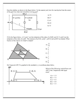 Geometry ACT Prep - Top 26 Problems with Midpoints, Medians, and Midsegments