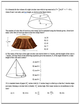 Geometry ACT Prep - Top 30 Problems with Cylinders, Cones, and Spheres