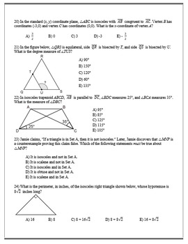 Geometry ACT Prep - Top 35 Problems with Isosceles Triangles