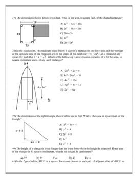 Geometry ACT Prep - Top 44 Problems with Algebraic Geometry