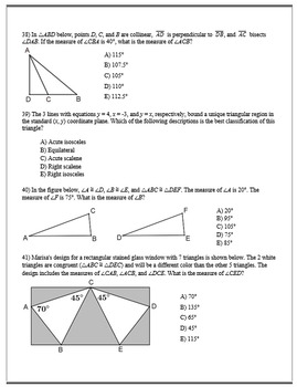 Geometry ACT Prep - Top 45 Problems with Angles of a Triangle