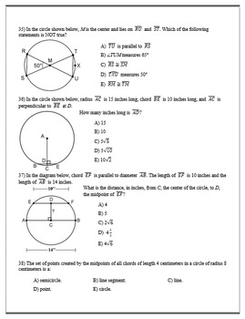 Geometry ACT Prep - Top 50 Problems with Circle Segments, Angles, and Arcs