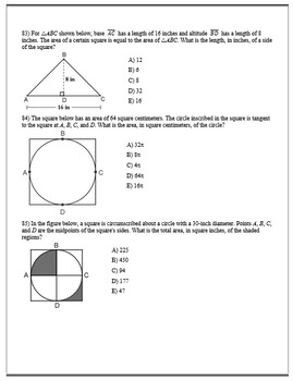Geometry ACT Prep - Top 85 Problems with Rectangles and Squares