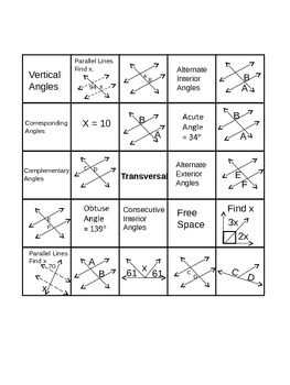 Geometry-(ANGLE RELATIONSHIPS BINGO)
