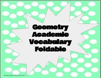 Geometry Academic Vocabulary Foldable