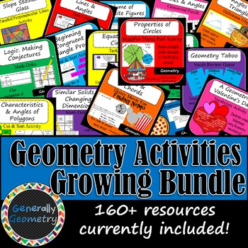 Geometry Activities GROWING Bundle: Lines, Angles, Triangles, Circles  & More!