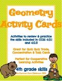 Geometry Activity Cards-4th Grade- Quiz-Quiz-Trade - Concentration 4.G.1 & 4.G.2
